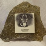 Personalized garden stone, colored tiles or black/white, free-form stone